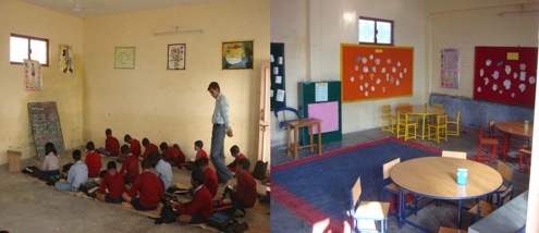 A classroom at Divya Prem Sewa mission before and after improvements by the Rama Foundation.