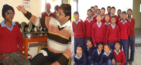 These boys were given an eye examination and bought spectacles by the Rama Foundation.
